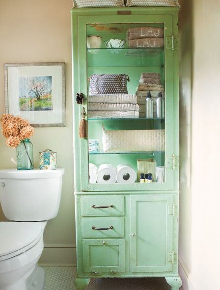 vintage bathroom green painted antique cupboard