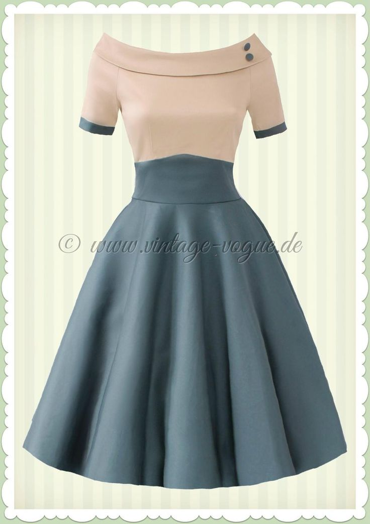 Dolly & Dotty 50er Jahre Rockabilly Petticoat Kleid - Darlene - Beige Grün