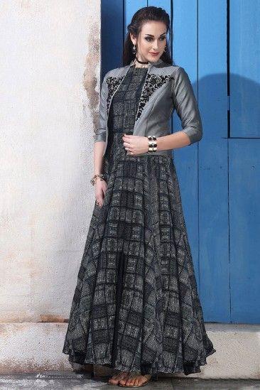 Chanderi And Cotton Embroidered Anarkali Gown - DMV12541 #anarkali ...
