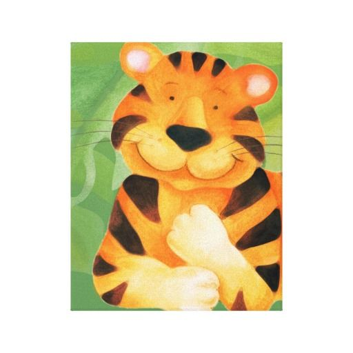 Cute happy tiger canvas wrap print canvas prints-Playful big cat art designed by Sarah Trett. Cute soft tiger, great on a baby's or child's bedroom wall. Canvas print of this cute tiger uniquely painted and designed by Sarah Trett.