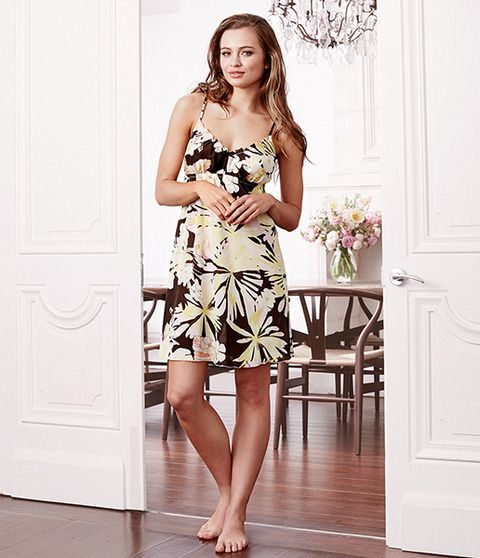 Beatrice is the fun and playful daughter of Marie-Antoinette.  Beatrice is a light twill fabric that ensures you can walk around with ease and comfort. This piece has a lovely floral print design with a hint of chocolate and pastel colours. Sleek spaghetti straps with a feminine frill across the chest, will leave you feeling girly and looking beautiful. Add a bit of youthful fun to your sleeping attire this season.