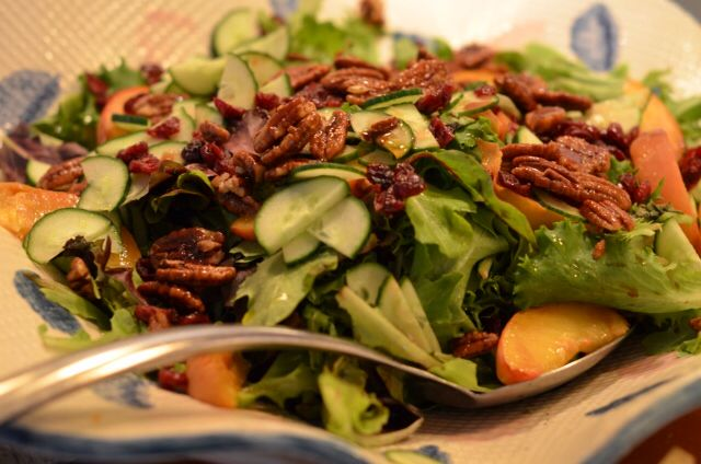 Spinach, candies walnuts and cranberries salad