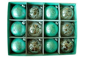 S/12 Glass Ornaments, Blue & Silver