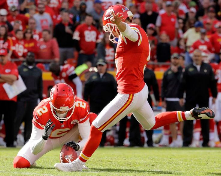 Jaguars vs. Chiefs  -  19-14, Chiefs  -  November 6, 2016  -    Kansas City Chiefs kicker Cairo Santos (5) boots a field goal with punter Dustin Colquitt (2) holding during the first half of an NFL football game against the Jacksonville Jaguars in Kansas City, Mo., Sunday, Nov. 6, 2016.