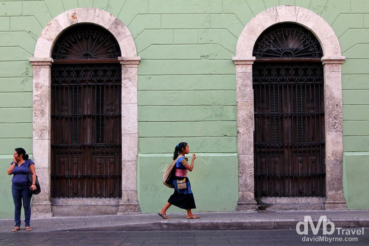 Mérida, Yucatán Peninsula, Mexico | dMb Travel - Travel with davidMbyrne.com | Although not immediately obvious, Mérida is a Mayan town, the first such town I have visited in Mexico. Mayan traditions & dress can be seen on a daily basis on the streets. I captured this picture while sitting in a café eating some quesadillas & sipping on a coke having returned to Merida from traipsing around the Mayan ruins at Uxmal. Calle 60, Mérida, Yucatán, Mexico.