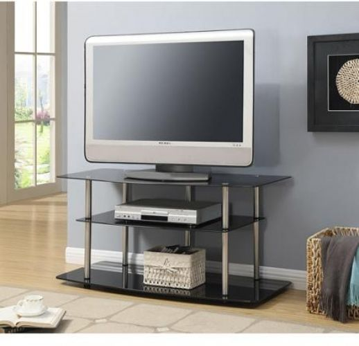 """TV Stand Tempered Black Glass Shelves Stainless Steel Legs For TV's Up To 42"""" #Accsense"""