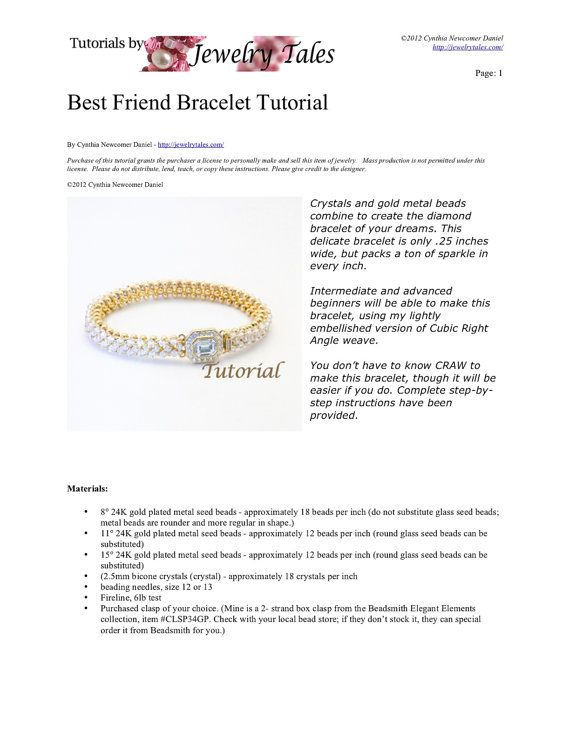 Gold Metal Seed Bead and Crystal Bracelet Pattern by JewelryTales