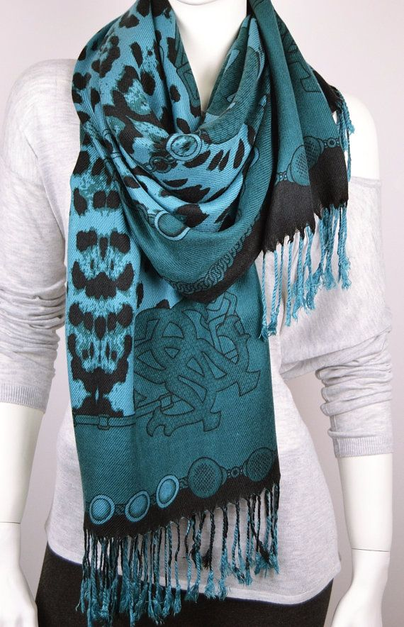 BUY 1 & GET 1 FREE   Blue Leopard Print Scarf by LIFEPARTNER, $17.50