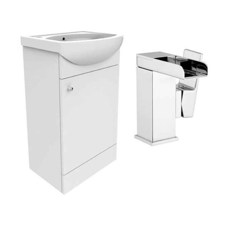 Adele Gloss White Vanity Unit (840x420) and Detta Waterfall Basin Mixer Package additional image 1