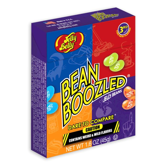 BeanBoozled jelly beans come in 20 flavors, 10 weird and wild flavors matched up with 10 look-alike tasty flavors. Is the black jelly bean Licorice, or is it Skunk Spray? Perhaps the blue bean is Toothpaste flavor, or maybe it's delicious Berry Blue. You might not know when you will be bamboozled. A key on the back of each box gives clues to the surprises found inside, but the beans look so similar, every bite will be a surprising dare.
