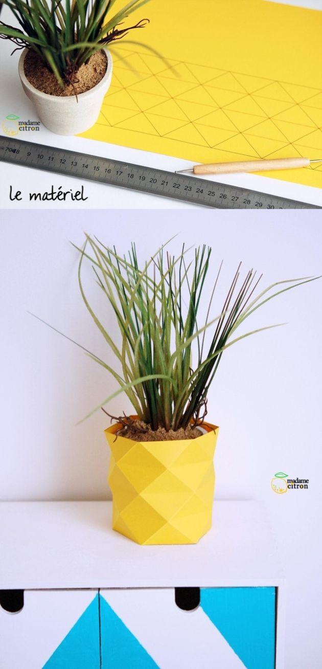 DIY - Tutorial - Origami - Plants pot - Geometric - Yellow - Decoration - Idea