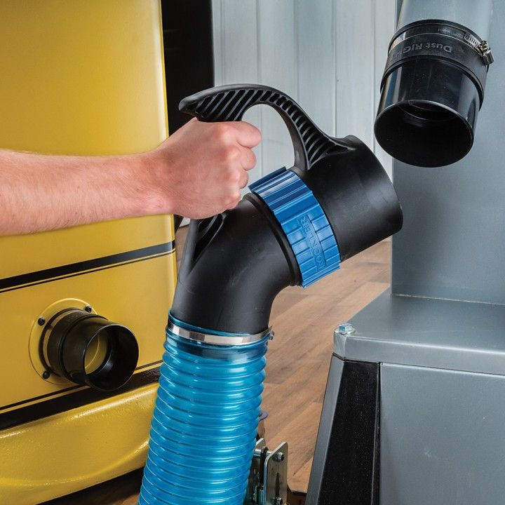 Quickly transfer a single 4'' dust collection hose from tool to tool.