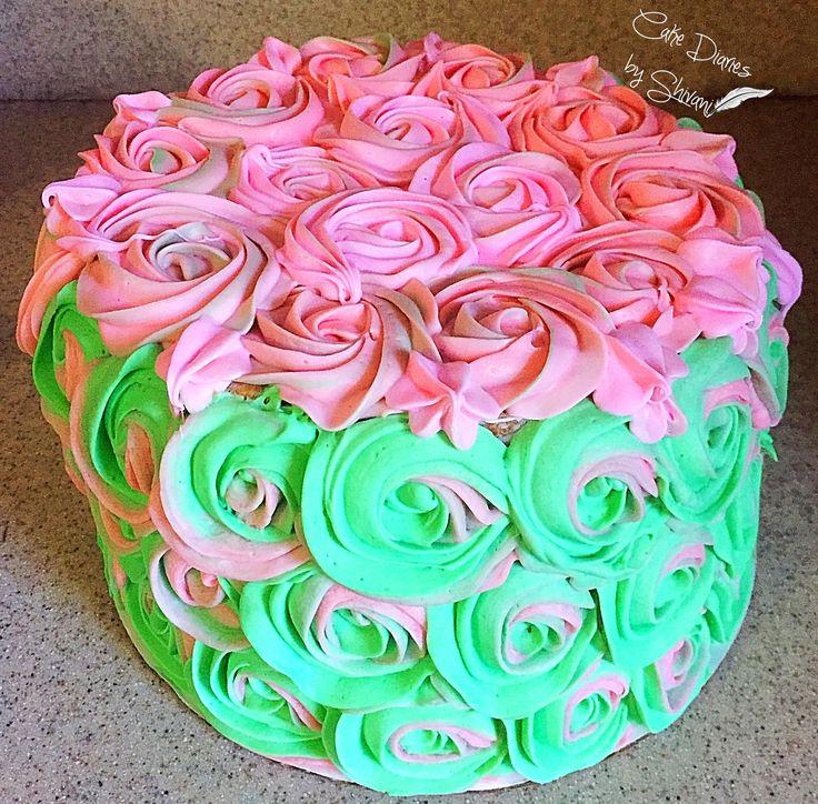 Best 25 Pink Rosette Cake Ideas On Pinterest Baby Girl