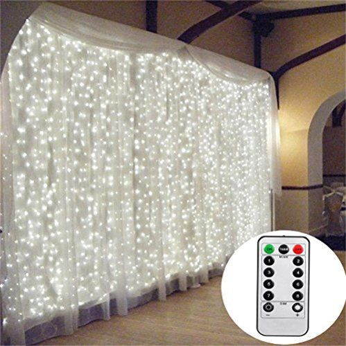 3M*3M/9.8ft*9.8ft Remote Control Curtain Lights LED String Fairy Light Window Icicle Backdrop Lights for Bedroom, Wedding, Party, Room, Garden Christmas (White) Really Safe Low Voltage LED Curtain Lights for Your Home, Wedding, Garden, Party Quite differently from traditional 220V—240V curtain lights, it adopts the low voltage 31V transformer which is lower than human safe voltage 36V. All the mini led bulbs will stay cool with long time continuously use. This string c