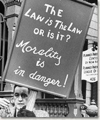 """In Griswold v. Connecticut (1965), the Supreme Court ruled that a state's ban on the use of contraceptives violated the right to marital privacy. The case concerned a Connecticut law that criminalized the encouragement or use of birth control. The 1879 law provided that """"any person who uses any drug, medicinal article or instrument for the purposes of preventing conception shall be fined not less than forty dollars or imprisoned not less than sixty days."""""""