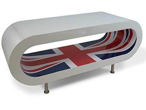 Zespoke Design Retro High Gloss White With Union Jack Inner Hoop Coffee Table / Tv Stand Uk Made Extra Large Feet