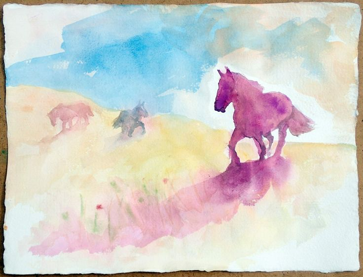 A Purple Horse in the Landscape, watercolor on paper