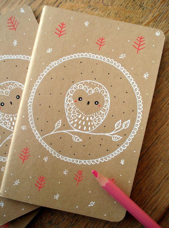 "Carnet Moleskine ""Waiting for the moon "" oMamaWolf illustration originale sur carnet kraft 14 x 9 cm 30 pages : Carnets, agendas par omamawolf"