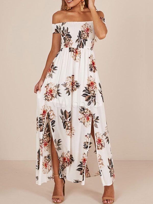 069c7f58eaf White Floral Maxi Dress Off The Shoulder Short Sleeve Split Chiffon Summer  Dress - Milanoo.com