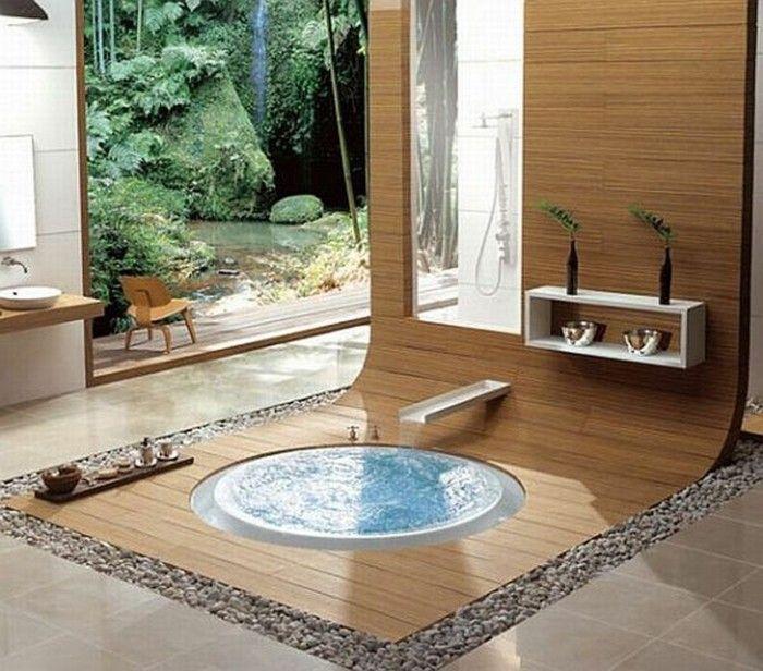 Les matériaux naturels ici sont nombreux - deco salle de bain orientale
