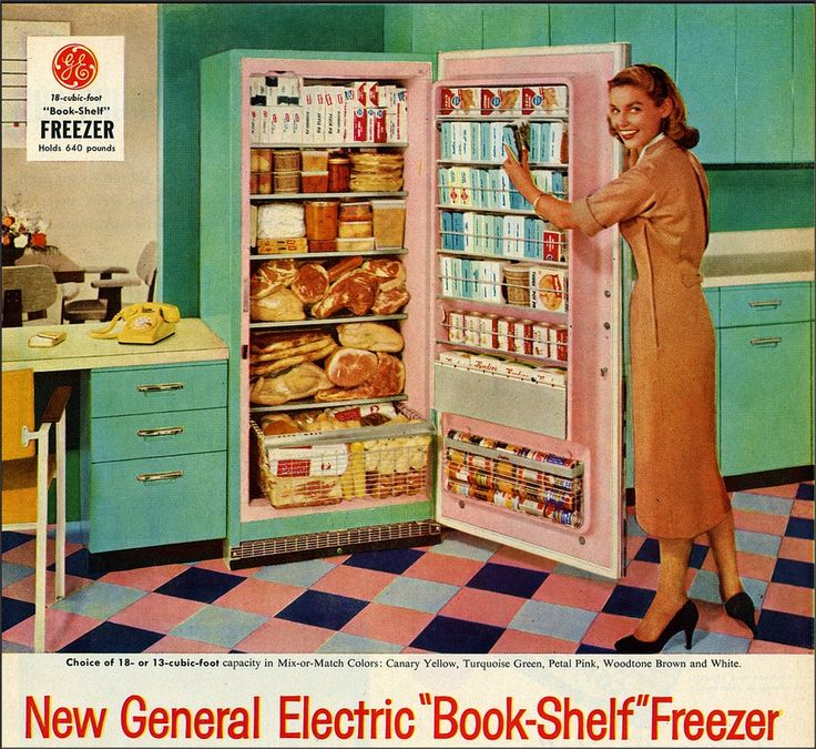 "General Electric ""Book Shelf"" Freezer, 1957 - Turquoise refrigerator with the pink interior!"