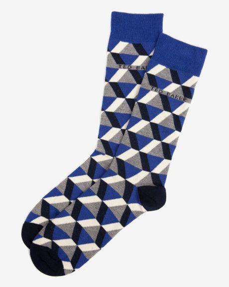 Geo pattern socks - Dark Blue   Socks   Ted Baker UK