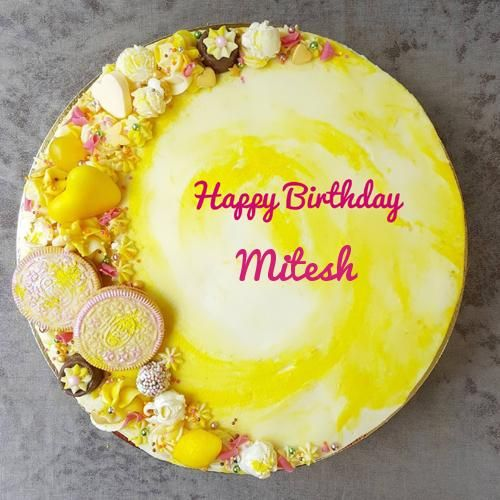 Highly Decorated Yellow Birthday Cake With Your Name