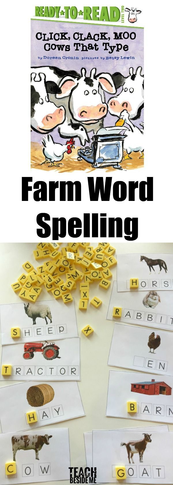 Farm Spelling Words to go with Click Clack Moo Cows that Type- first sounds, letters, alphabet practice for preschool via @karyntripp