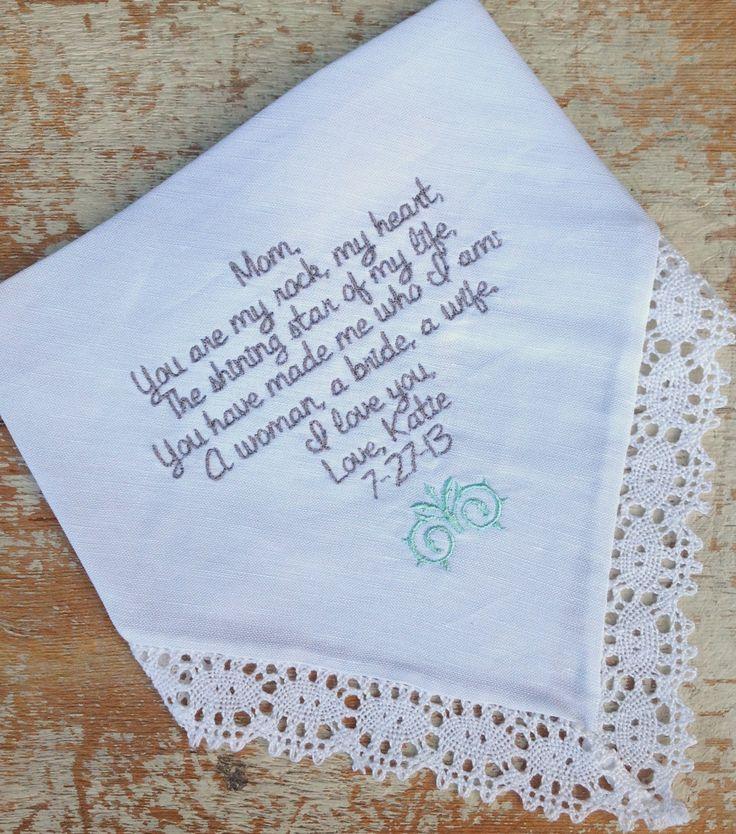 Embroidered Wedding Handkerchief Monogrammed Custom Mom