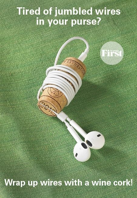 To the rescue: a wine cork! Simply poke a hole in one end of the cork with a small nail, then use a sharp knife to cut a narrow sliver out of the other end. Insert the earbud plug into the hole, wrap the wires around the middle of the cork and slide the ends through the sliver. The cork will keep the cord neatly in place, and it's small enough to slip easily into your pocket or purse.