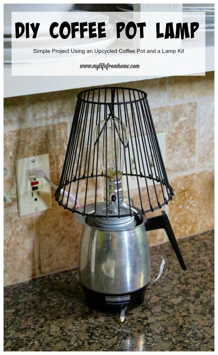 This is an easy decor update using a lamp kit to create and craft a DIY Coffee Pot Lamp by www.mylifefromhome.com | thrift store upcycle | coffee pot | lighting kit | DIY light