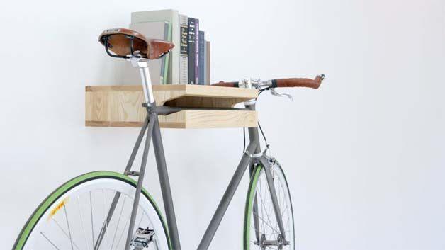 Hang your bike and skateboards on your wall | http://www.godownsize.com/skateboard-snowboard-bike-wall/