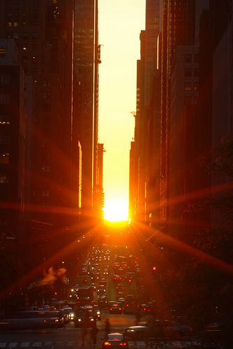 Manhattanhenge – sometimes referred to as the Manhattan Solstice – is a semiannual occurrence in which the setting sun aligns with the east–west streets of the main street grid in the borough of Manhattan in New York City - usually around May 28 and July 12 or July 13 – spaced evenly around summer solstice.