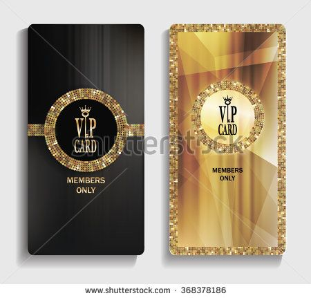 Vertical gold VIP cards with abstract pattern - stock vector