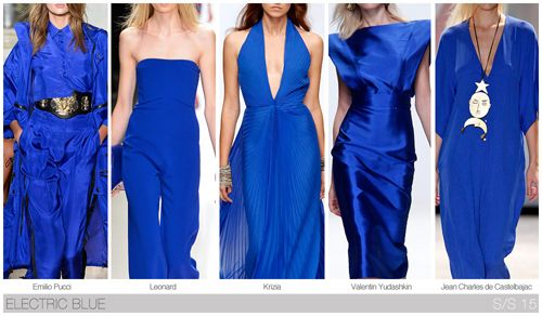 Top 10 Women's colors for Spring / Summer 2015, by Fashion Snoops. Electric blue has already achieved popularity as a commercial fashion color, and it continues forward this season.