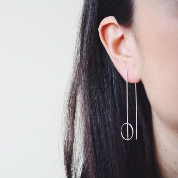 Minimal earrings sterling silver long earrings contemporary