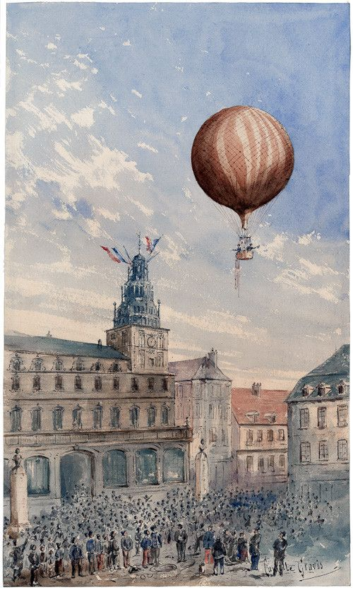 Balloon Over France - A balloon with two passengers ascending over a town square full of spectators in France. From a watercolor painting by Camille Gravis. The painting was created between 1880 and 1900.: