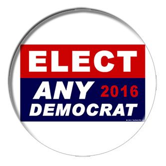 Elect Any Democrat 2016 2-1/4 Inch Button