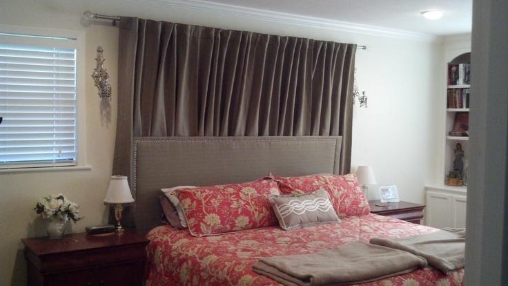 added curtain rod walmart curtains and diy headboard behind king bed