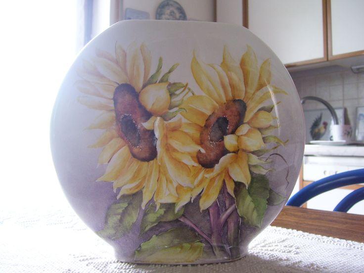girasoli su vaso di porcellana - dipinto a mano - Nanda