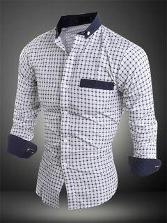 Camisa Casual propagación cuello mangas largas de algodón mezcla hombres