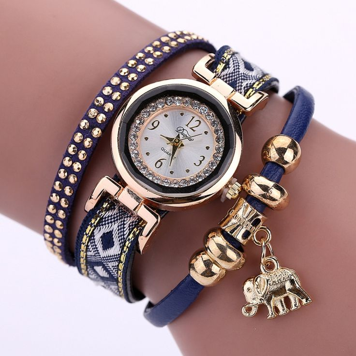 Luxury Brand New Women's Watch Fashion Gold Elephant Pendant Bracelet Watch Round Casual Ladies Girls Wristwatches - free shipping worldwide