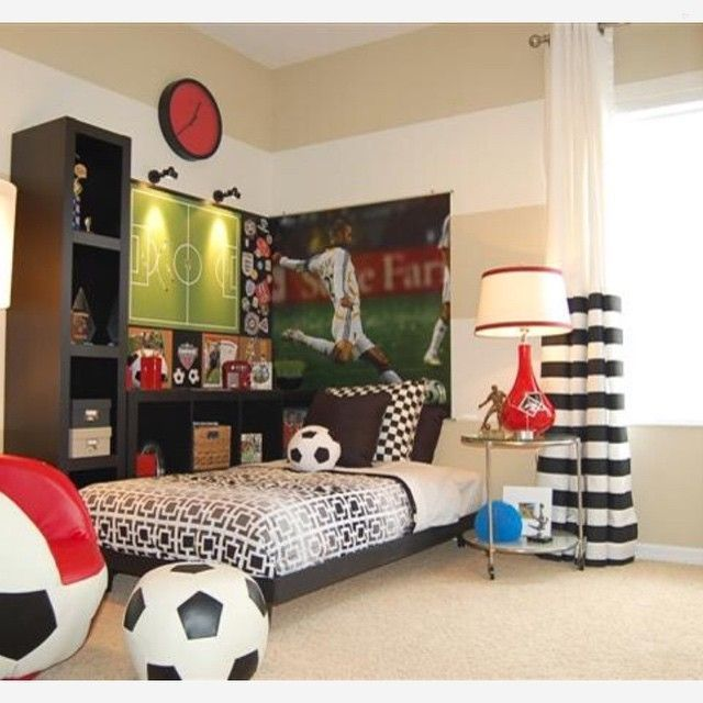 Soccer Inspired Room Home Decor For Kids And Interior Design Ideas For Children Toddler Roo Soccer Bedroom Soccer Themed Bedroom Toddler Bedroom Design