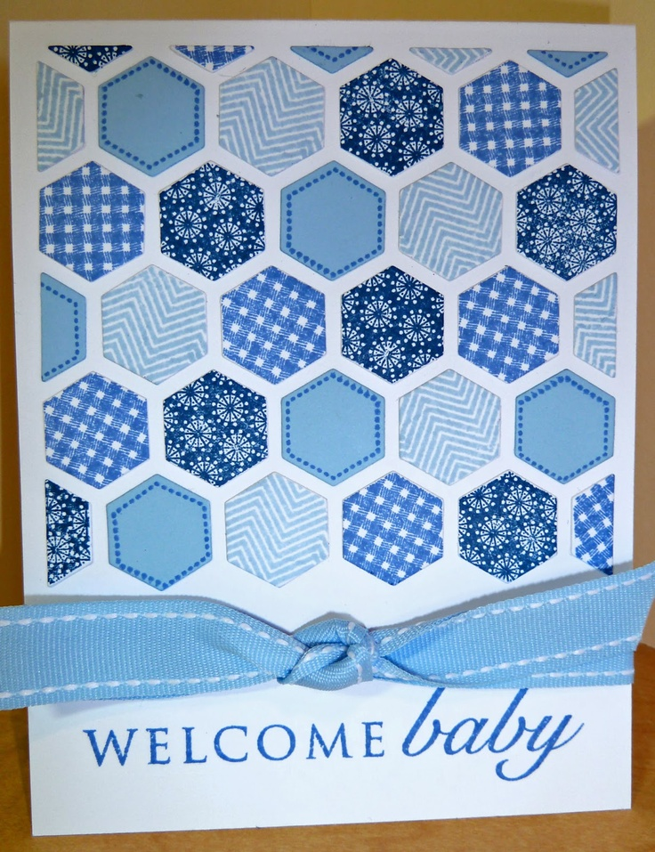 handmade card for baby boy ... luv the Happy Hexagons in blue ...