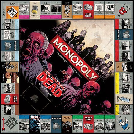 Walking Dead Survival Edition Monopoly board.