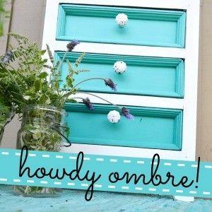 Ombre Aqua Painted Furniture Makeover fi