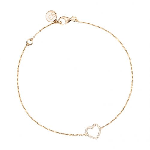 Heart bracelet with rose gold 18 k and white diamonds.
