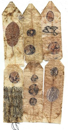 Ines Seidel - pieces of own photos and a leaf stitched into used tea bags (some talismanic touch here...!)