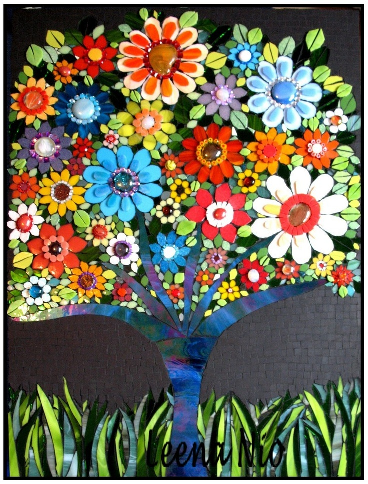Flower Tree Color Pinterest Mosaics Flower And Trees