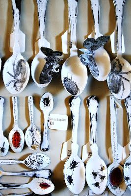 This piece is interesting because the moths go off the spoons show that they can't be pinned down.